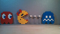 Lego Ms Pacman Namco Pixel Art 3d 2d Figure Old School Gaming Arcade Custom