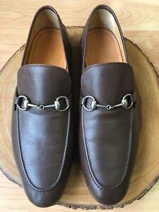53609b87efa GUCCI  Jordaan  Silver Horsebit Loafer Brown Style 281936 Sz 10.5 UK ...