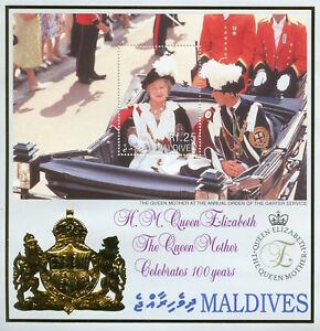 Maldives-2000-neuf-sans-charniere-Reine-Mere-Elizabeth-100th-anniversaire-1-V-S-S-Royalty-timbres