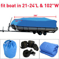 Goplus 21-24 Ft Waterproof Heavy Duty Fabric Trailerable Pontoon Boat Cover Blue