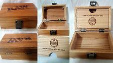 Raw Box #Rawlife Wood Smoking Stash Storage 2 Free Raw Rizla + 2 Clipper Lighter