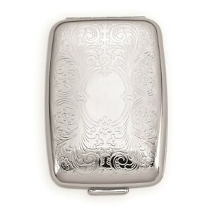 Etched Metal Pillbox Compact Mirror Pill Box Woman Lipstick Holder Travel