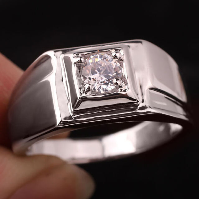 Men's Solid Sterling Silver Ring Size 13 Round Clear Cubic Zirconia Stone Embed