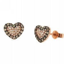 0.45ct COGNAC CHAMPAGNE BROWN DIAMOND HEART STUD EARRINGS 14K ROSE PINK GOLD