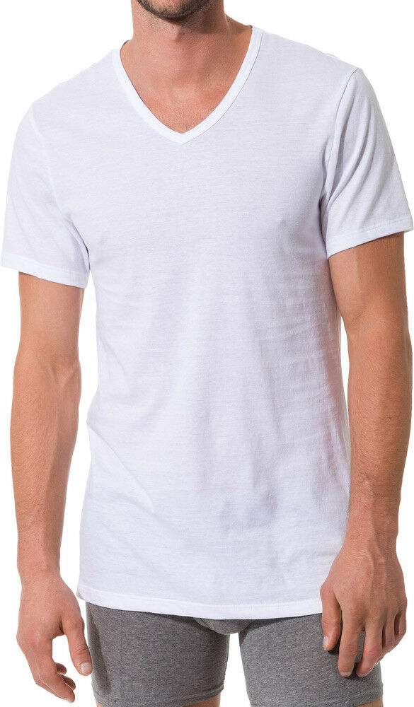 4 x Skiny T-Shirt V-Shirt Collection S - XXL weiß NEU  | Produktqualität