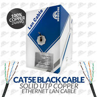 Cat5e Solid Outdoor Black Cable 305m Box 100% Copper Network Reel Ethernet (uk)