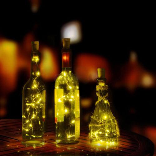 Solar Wine Bottle Cork Shaped LED String Light Night Fairy Light Party Xmas Lamp
