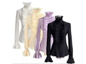 Lady-New-Tops-High-Neck-Frilly-Ruffle-Womens-Victorian-Long-Sleeves-Shirt-Blouse