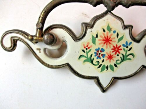 """1 Antique P1910 Brass Floral White Drawer 5-3//4/"""" Drop Bail Pull Handle Holes=3/"""""""