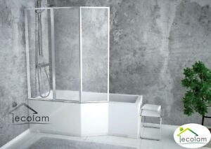 Details zu Badewanne Badewannenabtrennung Duschwand Eckwanne Rechteck  170x75 cm links Glas