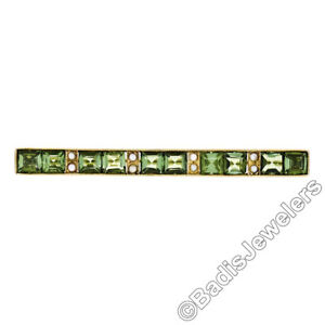 Antique-Victorien-14K-Or-Jaune-Vert-Tourmaline-Perle-Milgrain-Barre-Broche