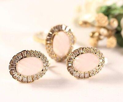 Turkish Jewelery Handmade Pink QuartzTopaz 925K Sterling Silver Set Ring Size7.5
