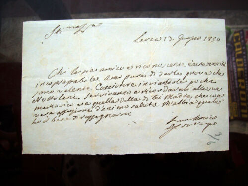 1850 RARE LETTER THE AUTOGRAPH POET GENOVESE GIAN CARLO OF NEGRO