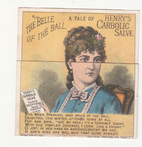 John F Henry's Carbolic Salve BELLE OF THE BALL Metamorphic Vict Card c1880s
