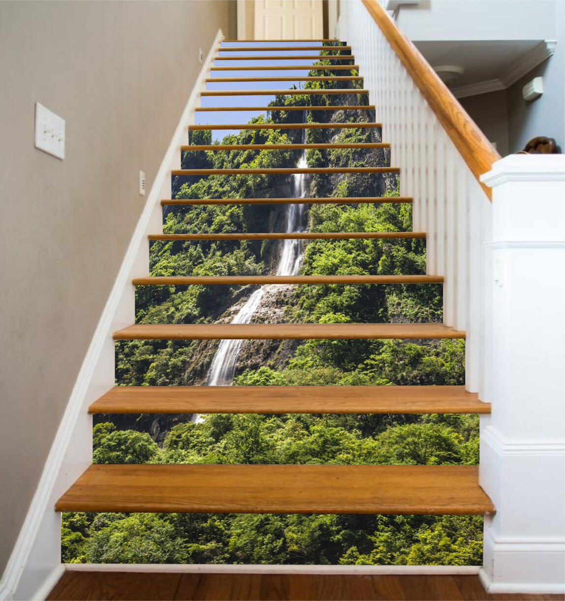 3D Tree mountain 55 Stair Risers Decoration Photo Mural Vinyl Decal Wallpaper UK
