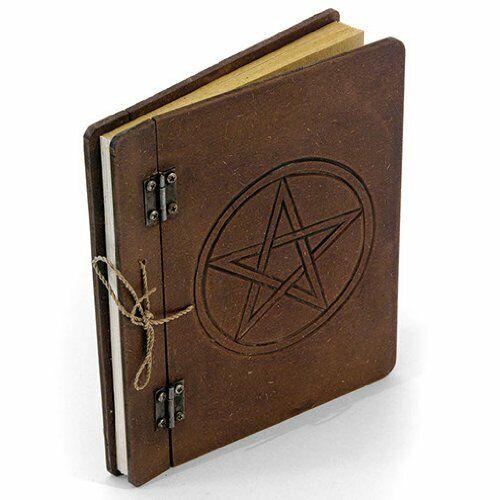 Geschnitzt Pentagramm Tagebuch Klappdeckel /& Qualität Handgefertigt Papier