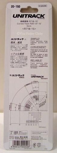 "4pcs New R718-15 Kato 20150 N Gauge Unitrack Curved Track R28 1//4/""-15 Degrees"