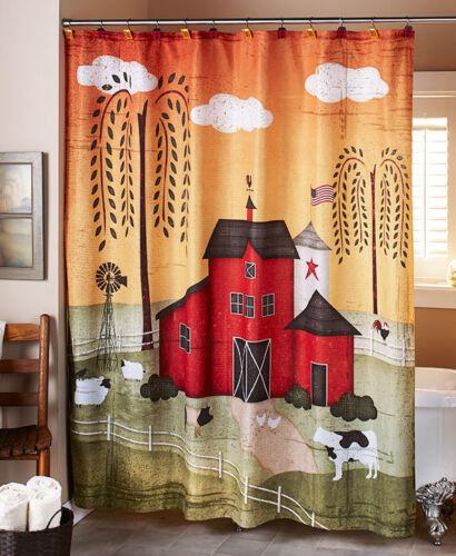 Country Barnyard Shower Curtain Farmhouse Primitive Willow Tree Curtain /& Hooks