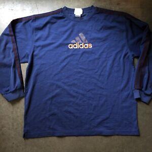 Details about Men's Vintage 90's Adidas Navy Blue Orange Spell Out Crewneck Sweatshirt Sz XL