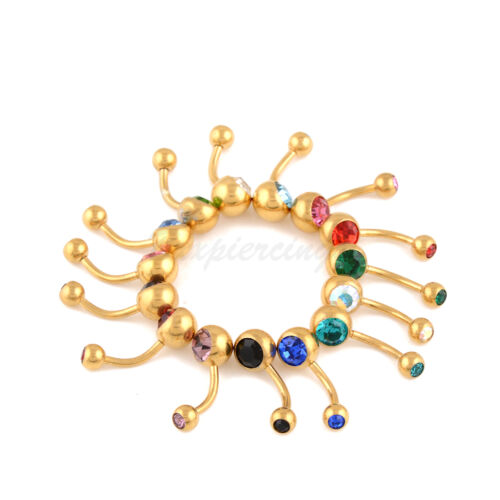 14 Pcs Belly Button Ring Double Jeweled Navel Rings Gold Plated Surgical Steel