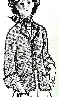 7321 Vintage Design OPEN FRONT JACKET Pattern to Crochet Reproduction SZ 10-14