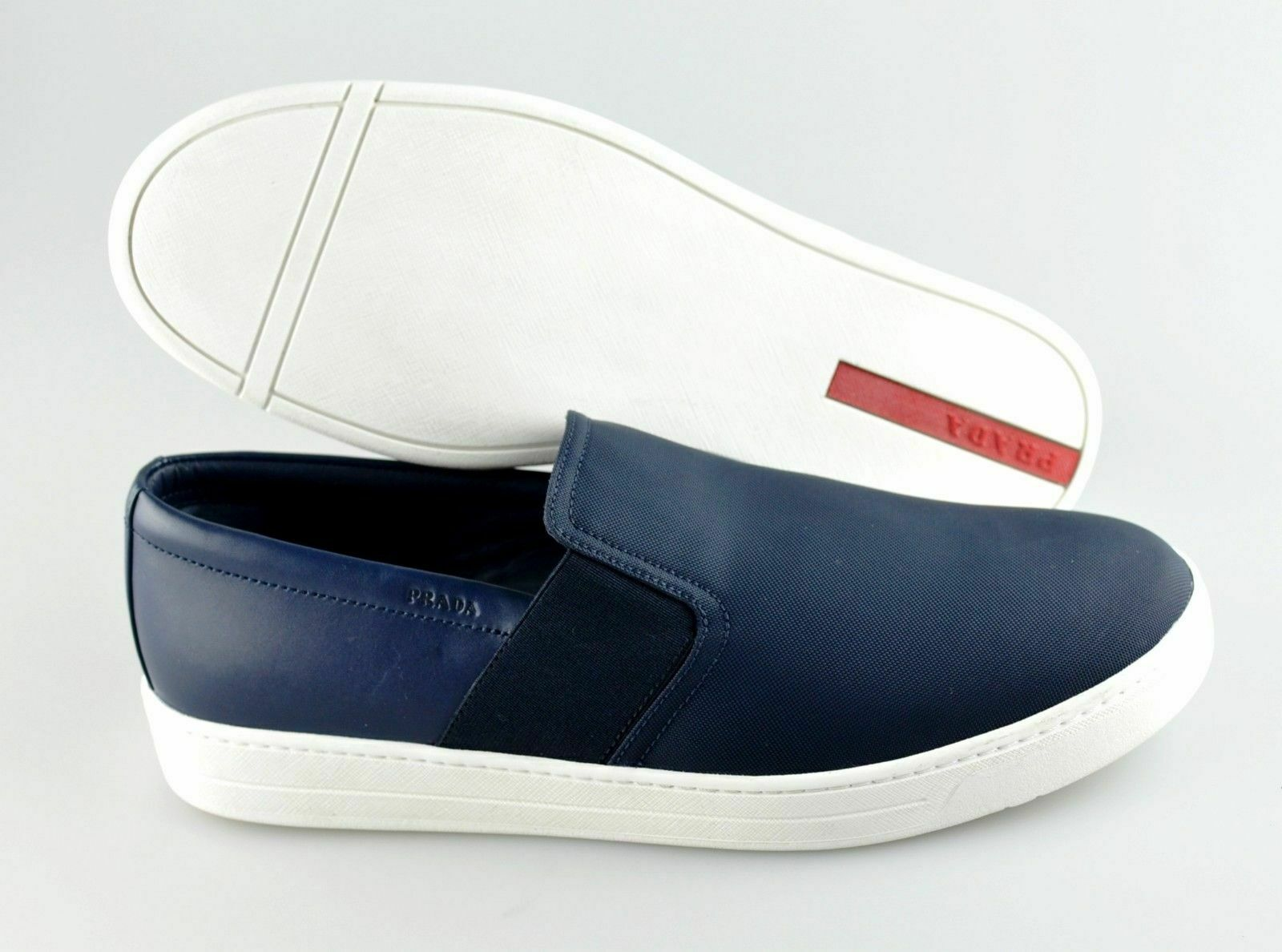 Men's PRADA 'Slip-On' Navy blu Leather Fabric scarpe da ginnastica Dimensione US 9 PRADA 8