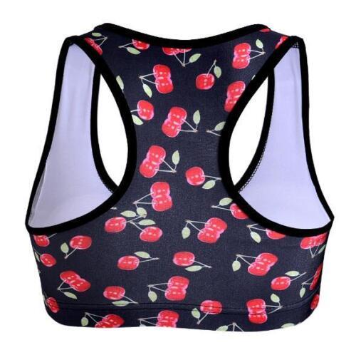 Gym Fitness Sport Bra Padded Gym Bra Little Cherry Printed Athletic Bra 1060