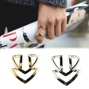 1ST-Doppelschichten-V-foermige-Legierung-Finger-Knuckle-Ring-Schmuck-Gold-Silber