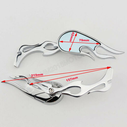 Chrome Rearview Side Mirrors Flaming For Honda Shadow Sabre VT VF 700 750 1100