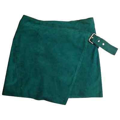 Maje / Jupe en daim veritable vert emeraude / taille 38 ou S / Neuve