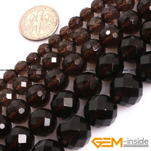Natural-A-Grade-Dark-Brown-Smoky-Quartz-Faceted-Round-Loose-Spacer-Beads-15-034-YB