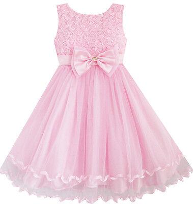 Flower Girl Dress Pink Rose Bow Tie Belt Wedding Birthday Party Size 2-10 Formal