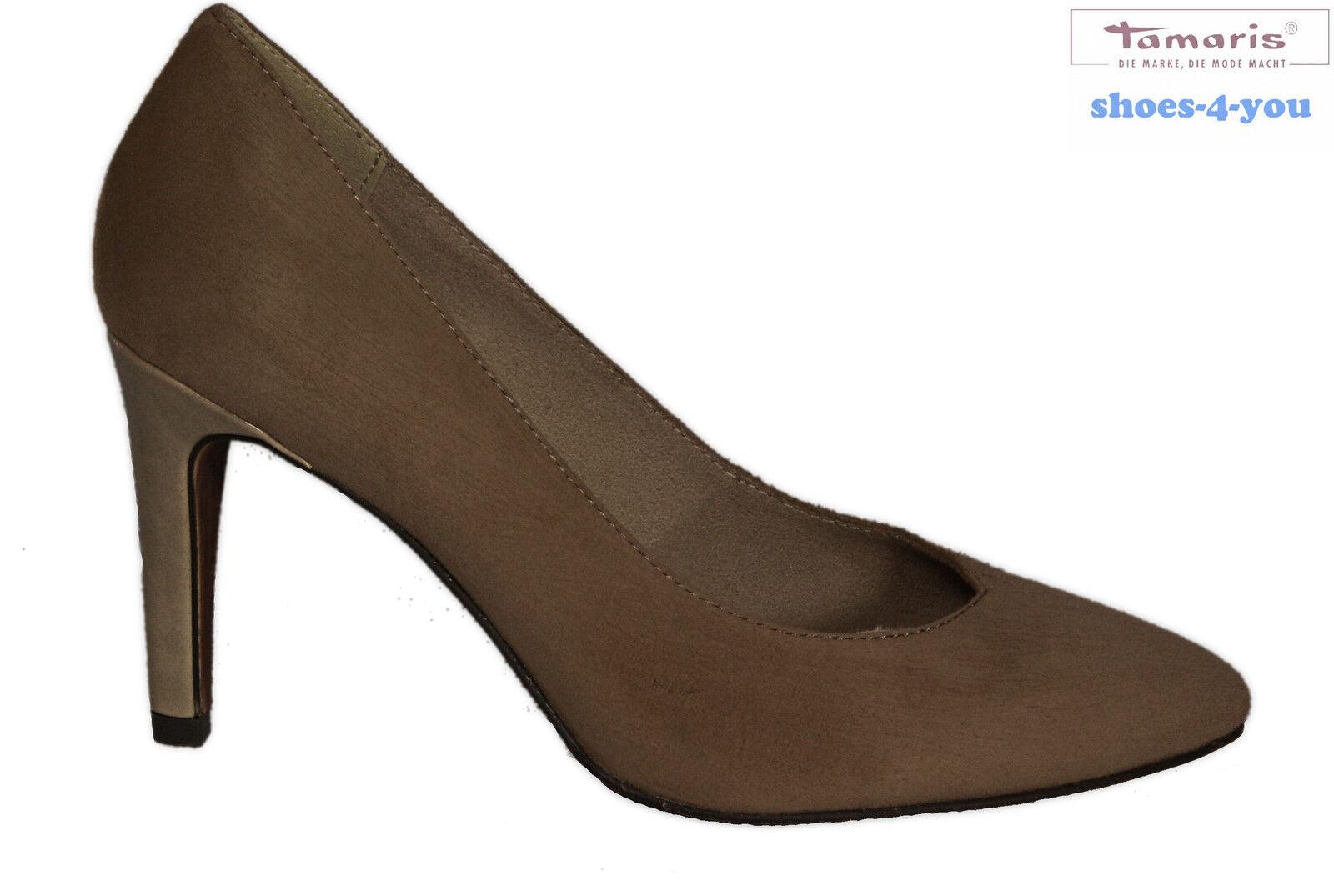 Tamaris chaussures escarpins beige en velours talons hauts pfennig paragraphe en cuir véritable neuf