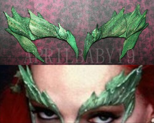 Poison Ivy Leave Eyebrow Eye mask GREEN Dusted w// GLITTER Comic Con Cosplay Elf