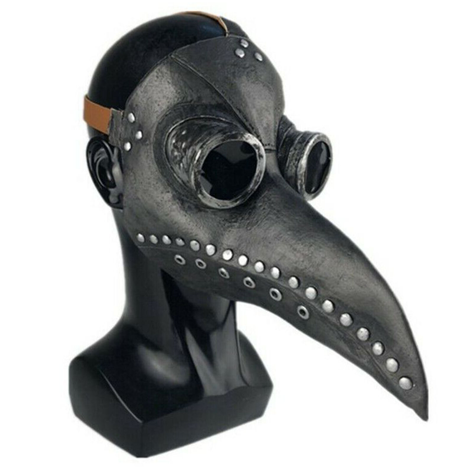 Halloween Party Mask Plague Doctor Cosplay Props Steampunk PU Leather Mask Black