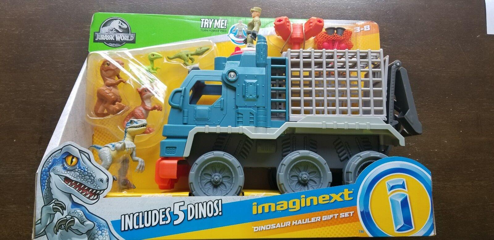 Imaginext jurassic welt 2 gefallenen königreich dinosaurier transportfahrzeuge mit raptor blaue neue