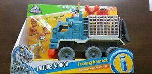 Imaginext Jurassic World 2 Hauleur De Dinosaures Au Royaume Déchiré Avec Raptor Bleu Nouveau