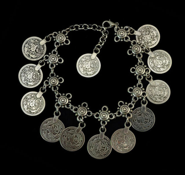 Retro Silver Bohemian Moon Lovers Turkish Coin Anklet Gypsy Bracelet Beach Foot