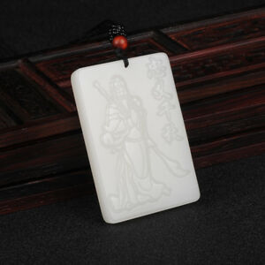 Chinese Natural White Hand-carved Chinese Hetian jade Magnolia flower pendant  N