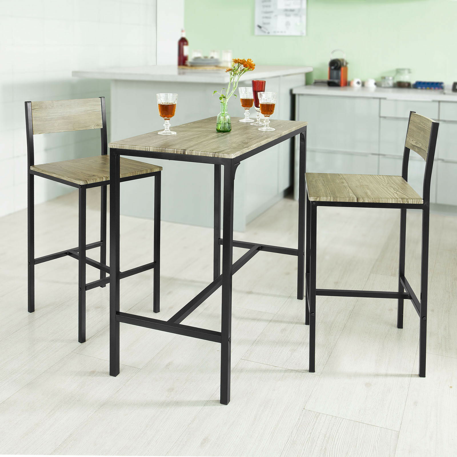 Uk Sobuy Kitchen Dining Breakfast Bar Table And 2 High