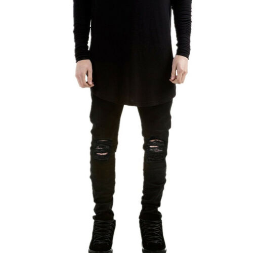 NEW Men/'s Distressed Ripped Skinny Jeans Trousers Slim Fit Denim Pants 7Colors