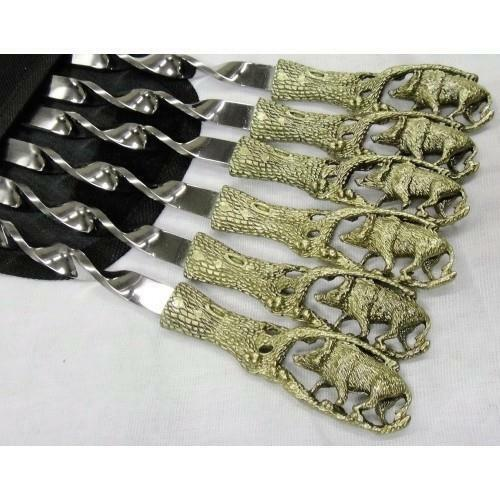 Metal 6Pcs Stainless Steel Barbeque Skewer Needle Kebab Stick luxury BBQ + Case