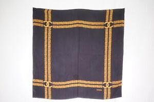 CHANEL-84-cm-Vintage-Large-Scarf-100-Silk-Coco-Mark-Chain-Shawl-Black-2440k