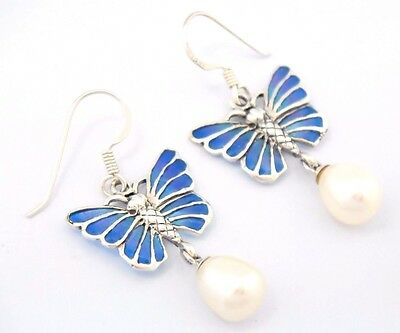 Perle Emaille  Ohrringe Schmetterling Butterfly   925 Silber  STERLINGSILBER
