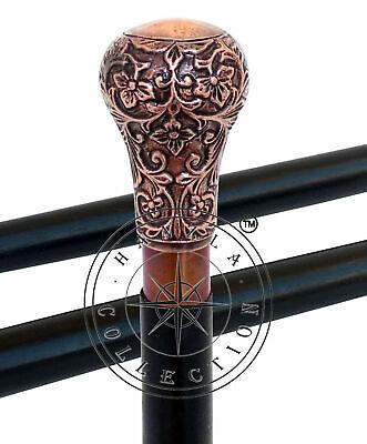Old Stlyle Brass Handle Wooden Shaft Walking Stick Vintage Walking Cane Antique