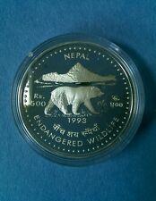 RARE!***1993 Nepal endangered wildlife bear 500 rupee silver