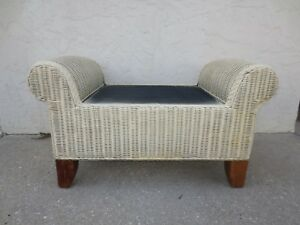 Prime Details About Wicker Bench Rattan Tropical Cottage Bed End Seat Stool White Coastal Beach Creativecarmelina Interior Chair Design Creativecarmelinacom