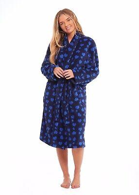 Umoristico ???? Donna Grande In Pile Vestaglia Morbido Accappatoio Blu Cuori ???? Design Regalo-mostra Il Titolo Originale