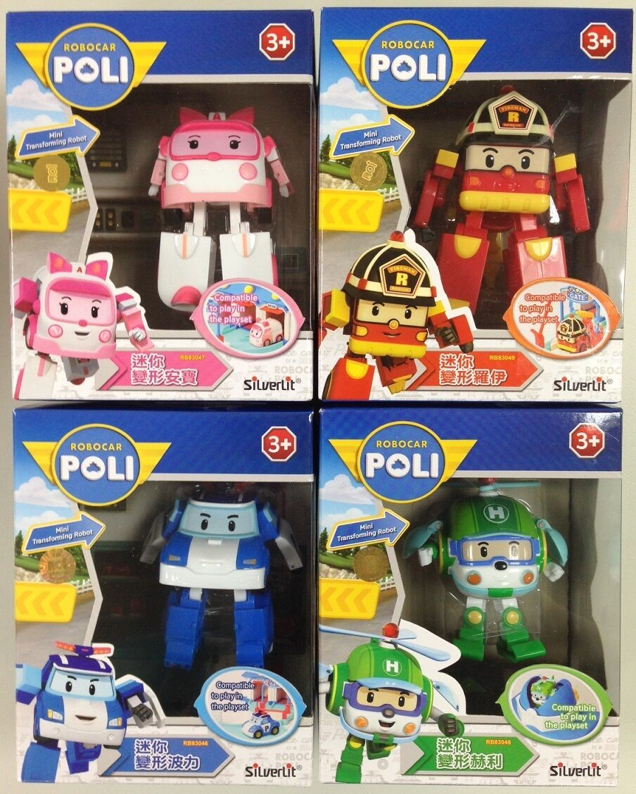 ROBOCAR POLI MINI TRANSFORMER  4.7    12CM ROBOT POLI ROY AMBER HELLY 4 FIGURES