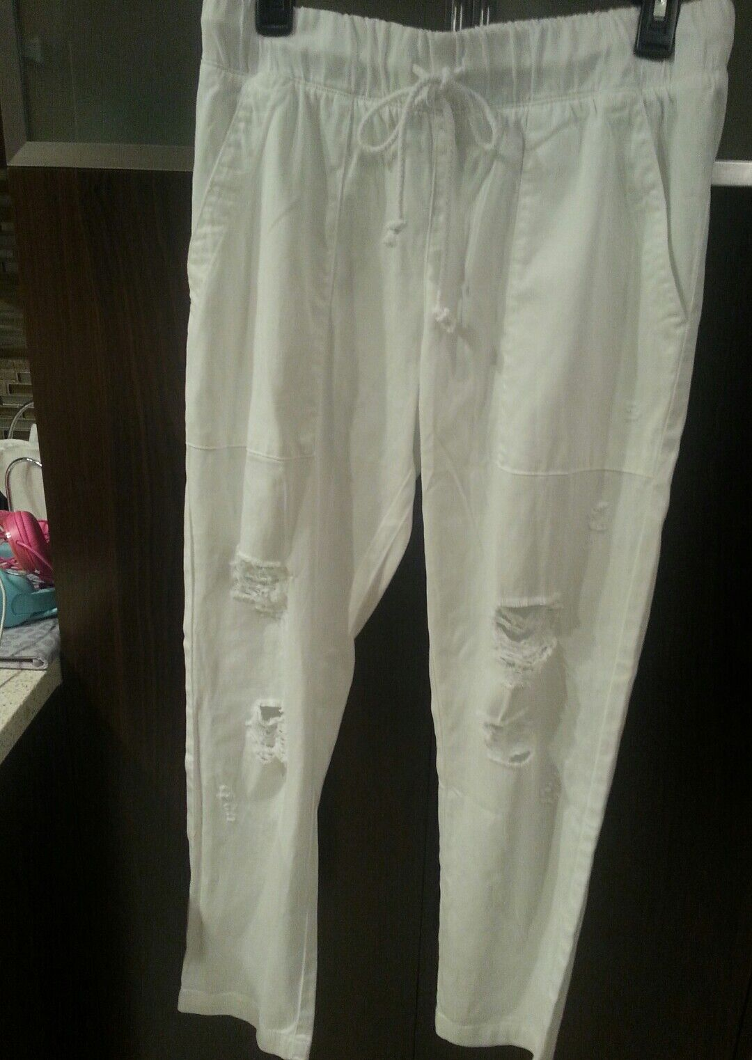 NWOT ANTHROPOLOGIE Cloth & Stone Distressed Weiß Tencel Pants Größe S